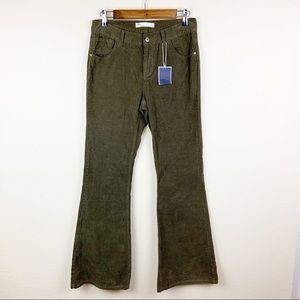Zara Basic Corduroy Flare Leg High Rise Jeans NWT